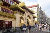 AMSTERDAM - JULY 26: Buddhist temple He Hwa in Amsterdam's chinese street on 26 July 2014 in Amsterdam, The Netherlands.