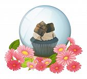 Illustration of a crystal ball with a chocolate flavored cupcake on a white background