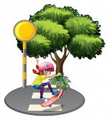 picture of post-teen  - Illustration of a girl skateboarding near the big tree on a white background - JPG