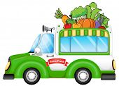Illustration of a vehicle selling fresh vegetables on a white background
