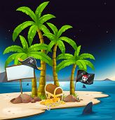 Illustration of a pirate island with an empty signboard