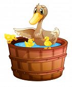 Illustration of a duck and her ducklings at the bathtub on a white background