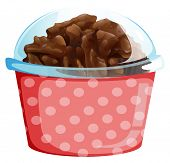 Illustration of a cupcake inside the pink polkadot container on a white background