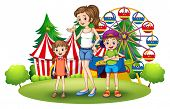 Illustration of a family at the amusement park with a ferris wheel on a white background