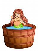 Illustration of a fat mermaid taking a bath on a white background