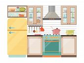 Kitchen interior. Kitchen appliances and utensils