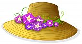Illustration of a brown hat with blooming flowers on a white background
