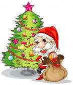 Illustration of Santa Claus near the christmas tree on a white background