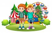 Illustration of the two boys in front of the carnival on a white background