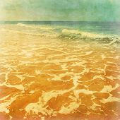 Seascape in grunge and retro style.
