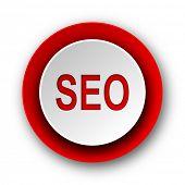 seo red modern web icon on white background