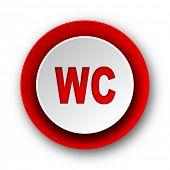 toilet red modern web icon on white background