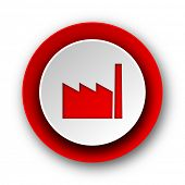 factory red modern web icon on white background