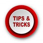 tips tricks red modern web icon on white background