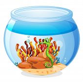 Illustration of an aquarium with a seahorse on a white background