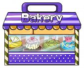 Illustration of a bakery with lots of goods on a white background