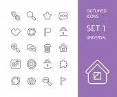 stock photo of universal sign  - Outline icons thin flat design - JPG