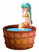 Illustration of a big bathtub with a mermaid on a white background
