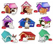 Illustration of the dogs with houses on a white background