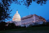 Capitol Hill  building panorama at dusk with light and blue sky, Washington DC.