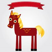 Funny Brown Horse On A White Background. Vintage Label. Vector