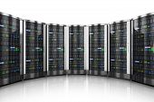 picture of workstation  - Row of network servers in data center isolated on white background with reflection effect - JPG