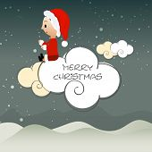 Cute little santa girl sitting on clouds in stars night background for Merry Christmas celebrations.