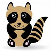 Funny Raccoon On White Background. Vector