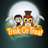 Horrible night scene with vampire boy; scary owl holding axe, pumpkins and stylish Trick Or Treat text.