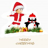 Cute little Santa playing with snow man on fir trees and gift boxes decorated background, Merry Christmas celebrations concept.