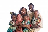 Grand Parents with Grandchildren Portrait of Happy Smiling African American Family Wearing Traditional Costume Isolated on White Background