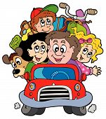 image of family vacations  - Happy family in car on vacation  - JPG