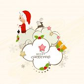 Creative xmas ornaments and clouds decorated greeting card design with cute little santa girl for Merry Christmas celebrations.