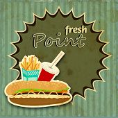 Vintage fast food menu price card design with hamburger, french fries and soft drink on green background.