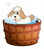 Illustration of a brown bathtub with a dog taking a bath on a white background