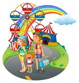 Illustration of a family bonding at the carnival on a white background