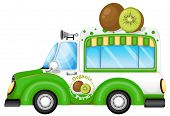 Illustration of a green vehicle selling kiwi fruits on a white background