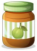 Illustration of a bottle of guava jam on a white background