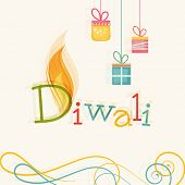 Stylish text of Diwali with flame and hanging gift for Diwali celebration on floral decorated backgr