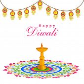 Celebration of Diwali with stand illuminated oil lit lamp on rangoli and stylish decoration on white background.