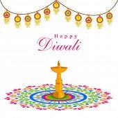 stock photo of rangoli  - Celebration of Diwali with stand illuminated oil lit lamp on rangoli and stylish decoration on white background - JPG