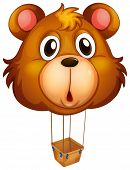 Illustration of a brown bear balloon on a white background