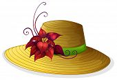 Illustration of a fashionable hat with a plant on a white background