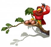 Illustration of a red bird watching the nest on a white background
