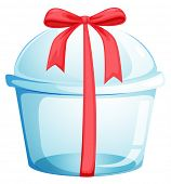 Illustration of an empty cupcake container with a red ribbon on a white background
