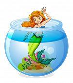 Illustration of a mermaid inside the bowl on a white background