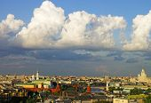 Cumulus Clouds Over Moscow City Center And Kremlin Panorama Skyline