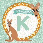 Abc Animals K Is Kangaroo. Childrens English Alphabet. Vector