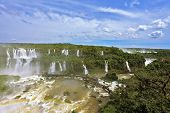 Turbid yellow-brown waves flow down. Raging and roaring water in the Brazilian side of the Iguazu Falls