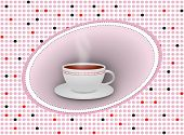 Hot Tea Cup With Saucer On Dotted Background